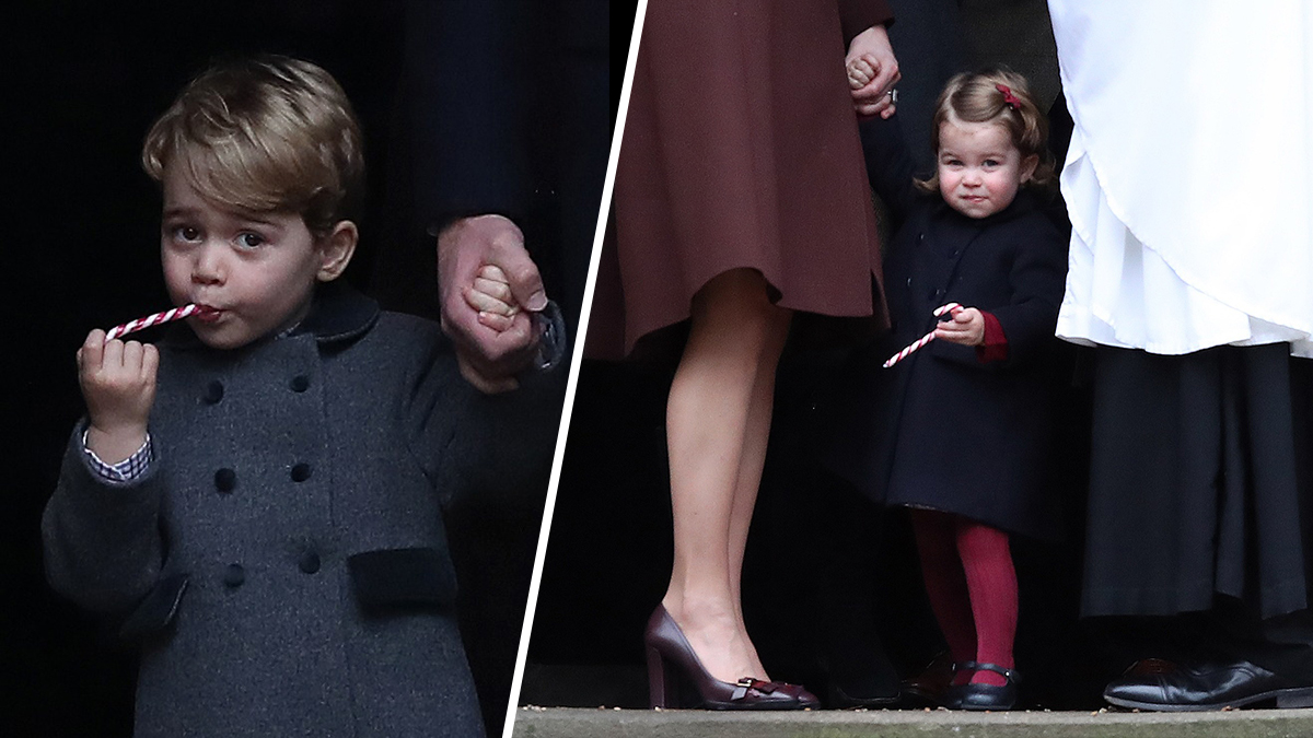 Prince George and Princess Charlotte eat sweets as they leave following the service at St Mark's Church on Christmas Day on Dec. 25, 2016, in Bucklebury, Berkshire.
