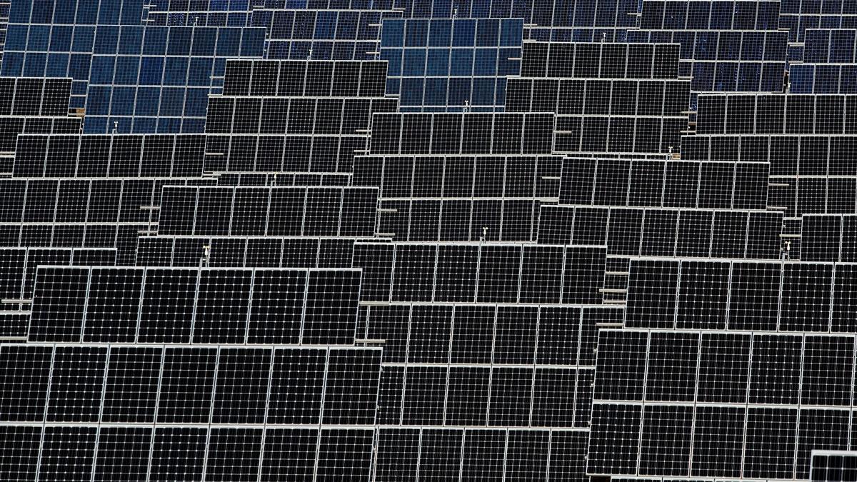 Photovoltaic power panels stand at Abaste's El Bonillo Solar Plant on Dec. 2, 2015 in El Bonillo, Albacete province, Spain.
