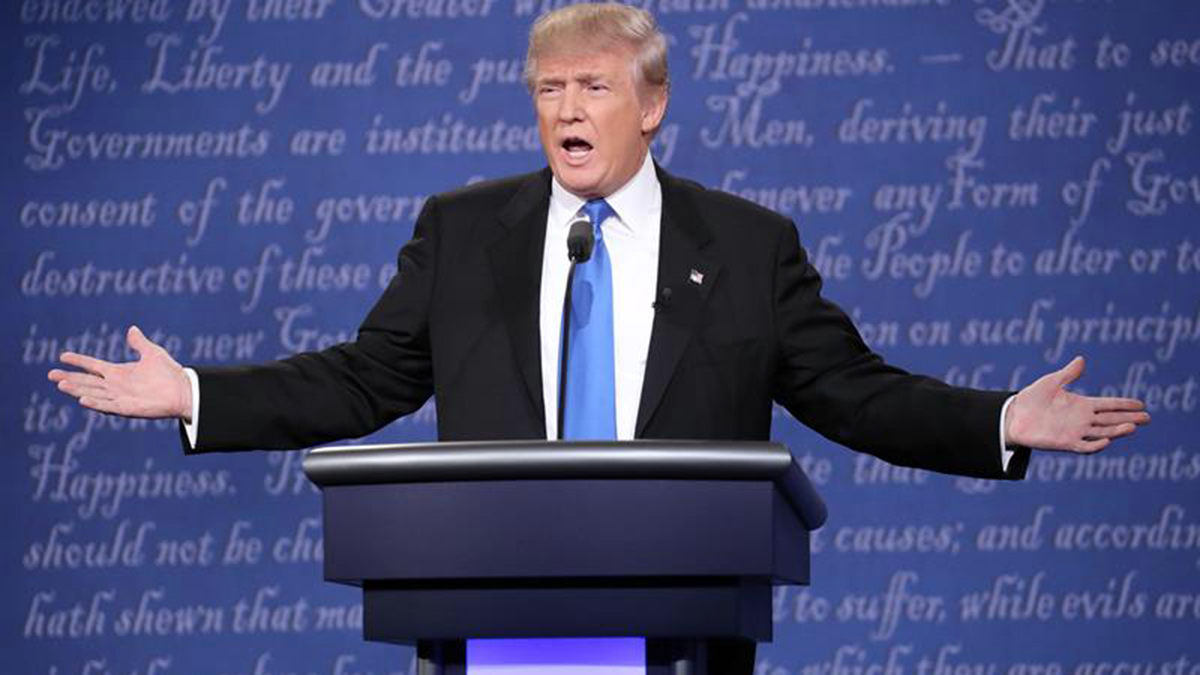 Donald Trump speaks at last week's presidential debate at Hofstra University in this file photo. Some of the Republican candidate's 1995 tax filings were released by the New York Times this weekend, which experts say show he isn't a