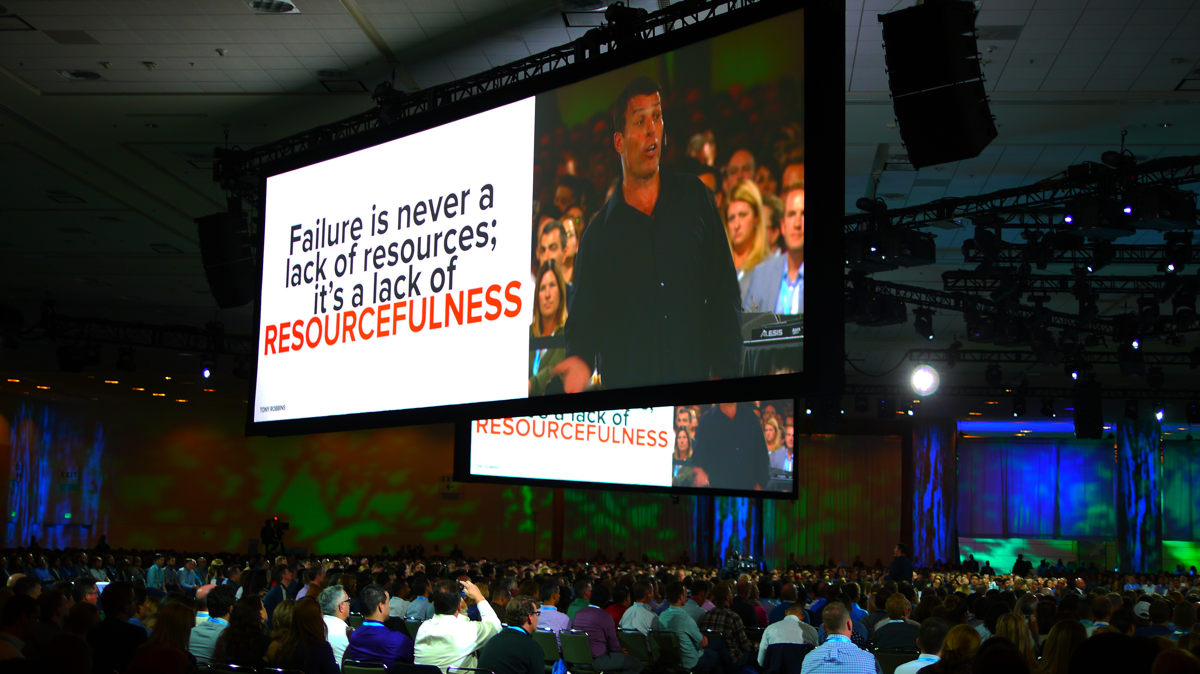 Tony Robbins delivers the keynote address at Dreamforce on Tuesday, Oct. 4, 2016.