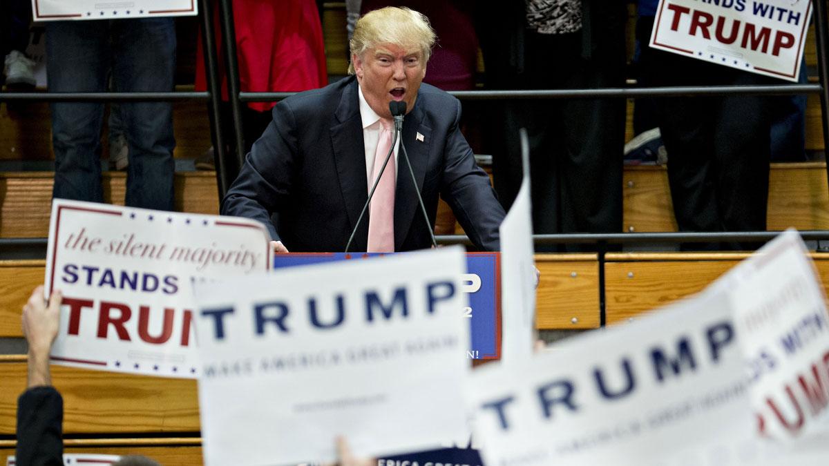 Republican presidential candidate Donald Trump speaks during a campaign rally at Radford University's Dedmon Arena in Radford, Virginia, Feb. 29.