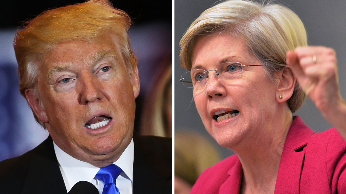 Republican presidential candidate Donald Trump and Massachusetts Sen. Elizabeth Warren, a Democrat