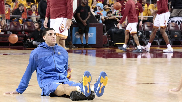 Lonzo Ball on the court at Galen Center