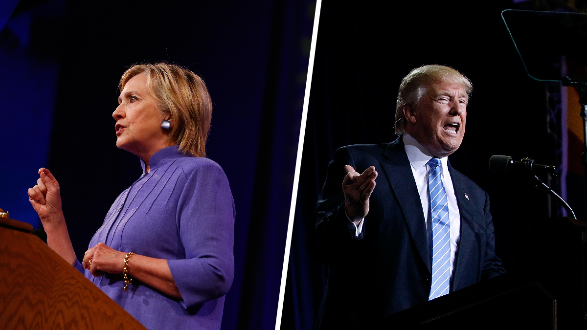 Hillary Clinton speaking in Ohio on August 31, 2016, and Donald Trump speaking in Arizona on September 1.