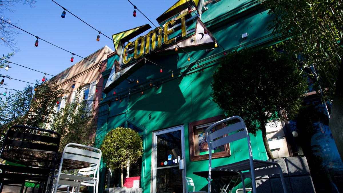 The front door of Comet Ping Pong pizza shop, in Washington, Monday, Dec. 5, 2016. A fake news story prompted a man to fire a rifle inside a popular Washington, D.C., pizza place as he attempted to