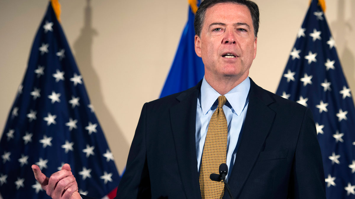 FBI Director James Comey makes a statement at FBI Headquarters in Washington, Tuesday, July 5, 2016. Comey said 110 emails sent or received on Hillary Clinton's server contained classified information.