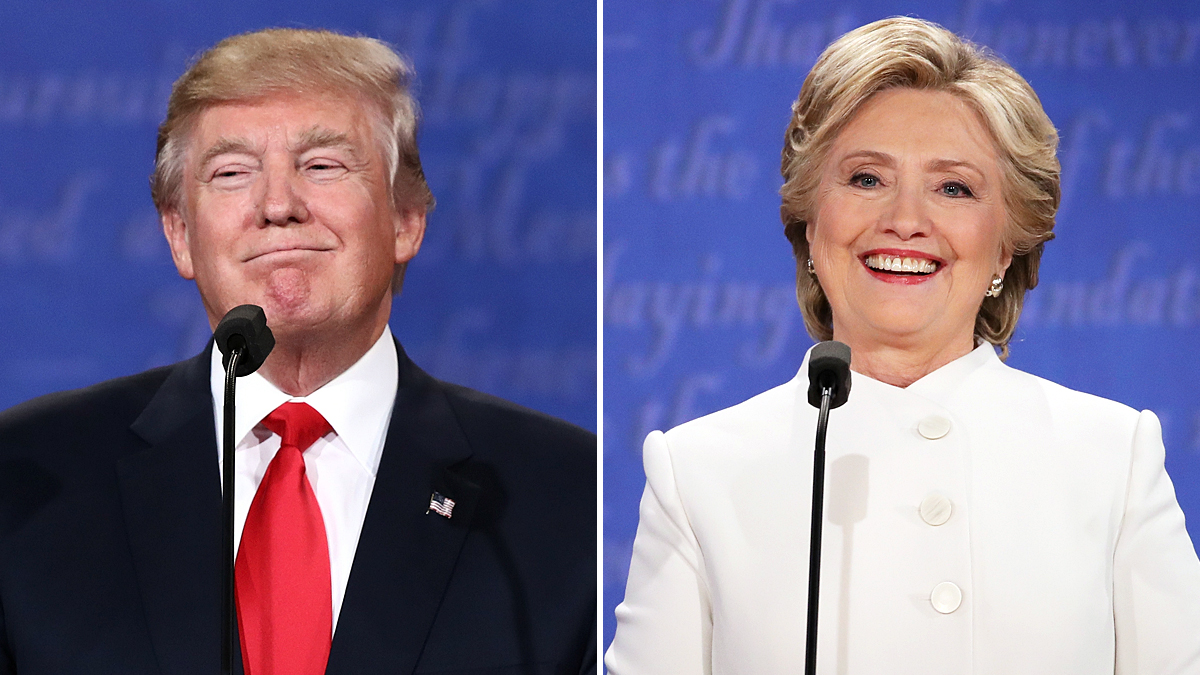 Democratic presidential nominee former Secretary of State Hillary Clinton (R) debates with Republican presidential nominee Donald Trump during the third U.S. presidential debate at the Thomas & Mack Center on Oct. 19, 2016 in Las Vegas, Nevada.