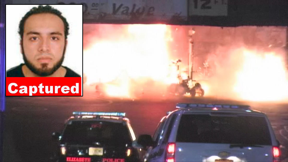 Suspected New York and New Jersey bomber Ahmad Rahami is seen in an FBI photo inset over the explosion of one of his purported bombs in Elizabeth, NJ.