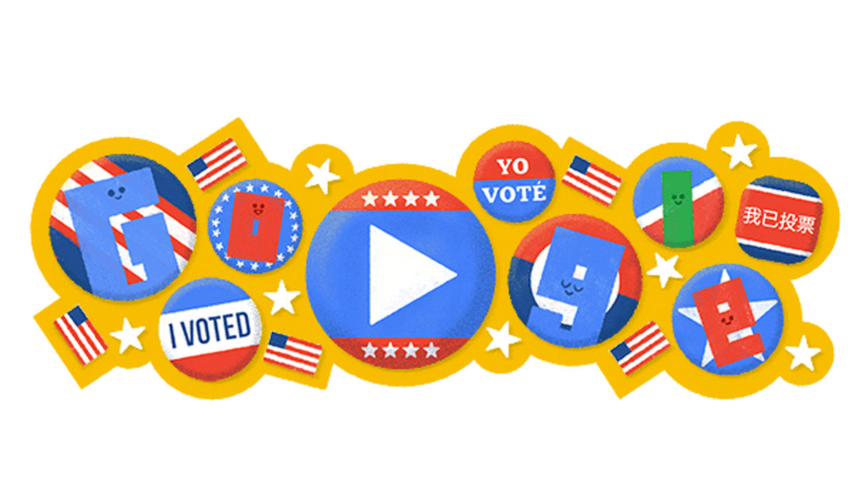 Google's 2016 US Election Day doodle leads to a tool that helps users find their polling place, after playing a cute animation.
