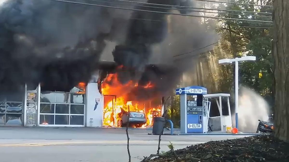 NJ Gas Station Bursts Into Flames After Crash