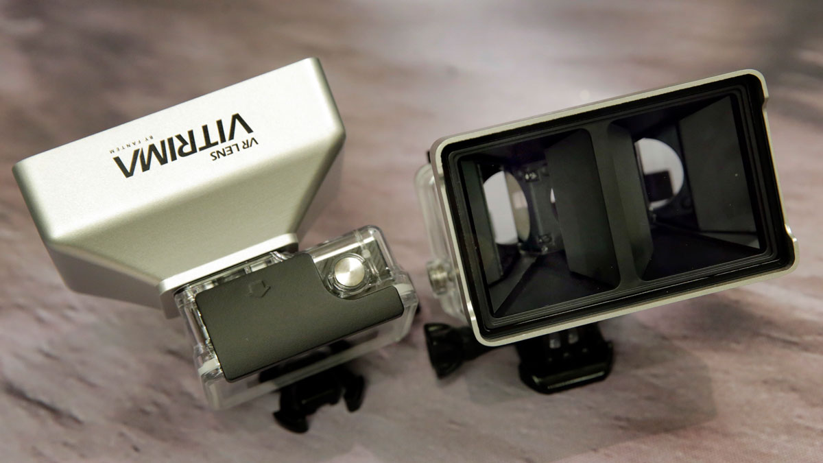 In this Wednesday, June 22, 2016, photo, the Vitrima stereoscopic 3-D lens, by Fantem, for GoPro cameras, is displayed during a preview of products at CE Week in New York.