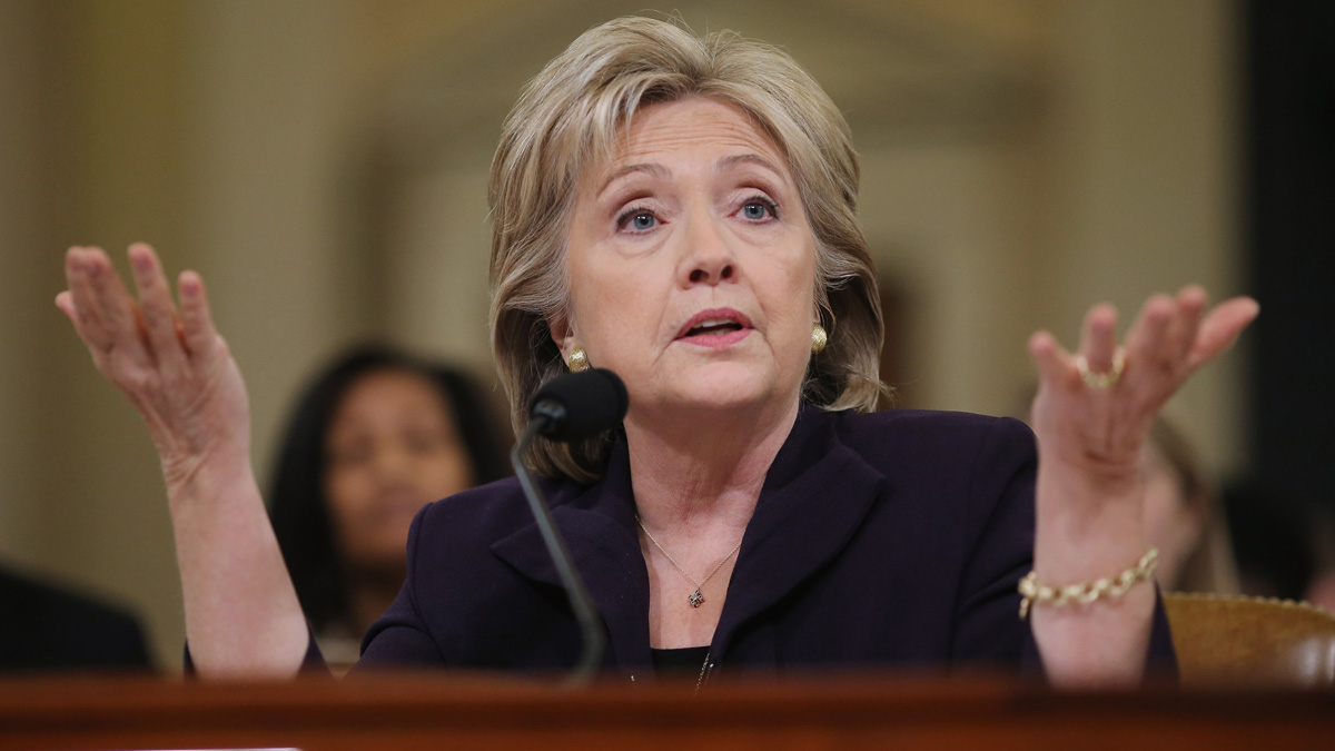 In this October 2015 photo, Democratic presidential candidate and former Secretary of State Hillary Clinton testifies before the House Select Committee on Benghazi on Capitol Hill.