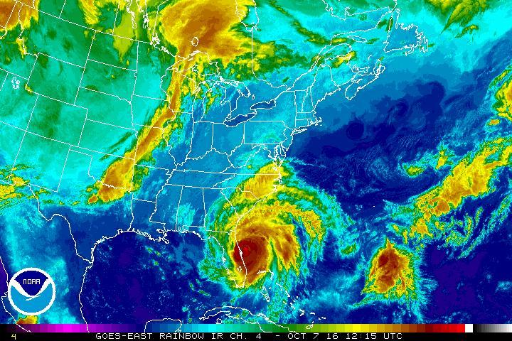 Hurricane Matthew on Oct. 7, 2016, at 12 a.m. UTC.