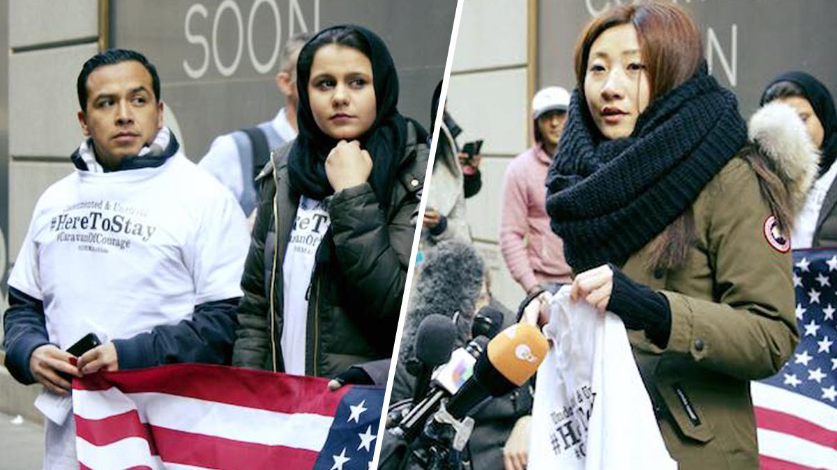 Ivy Teng Lei and Hina Naveed speak at Trump Tower on Nov. 22, 2016.