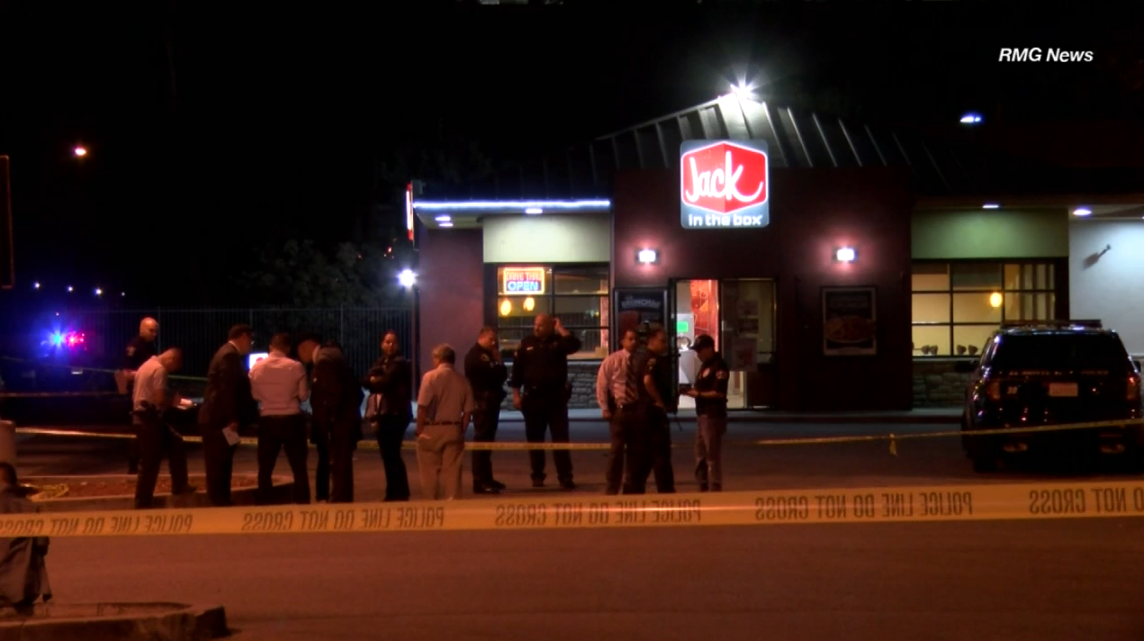 A Jack in the Box employee was shot and killed by a man in a Halloween mask who attempted to rob the restaurant Friday, Oct. 21, 2016.