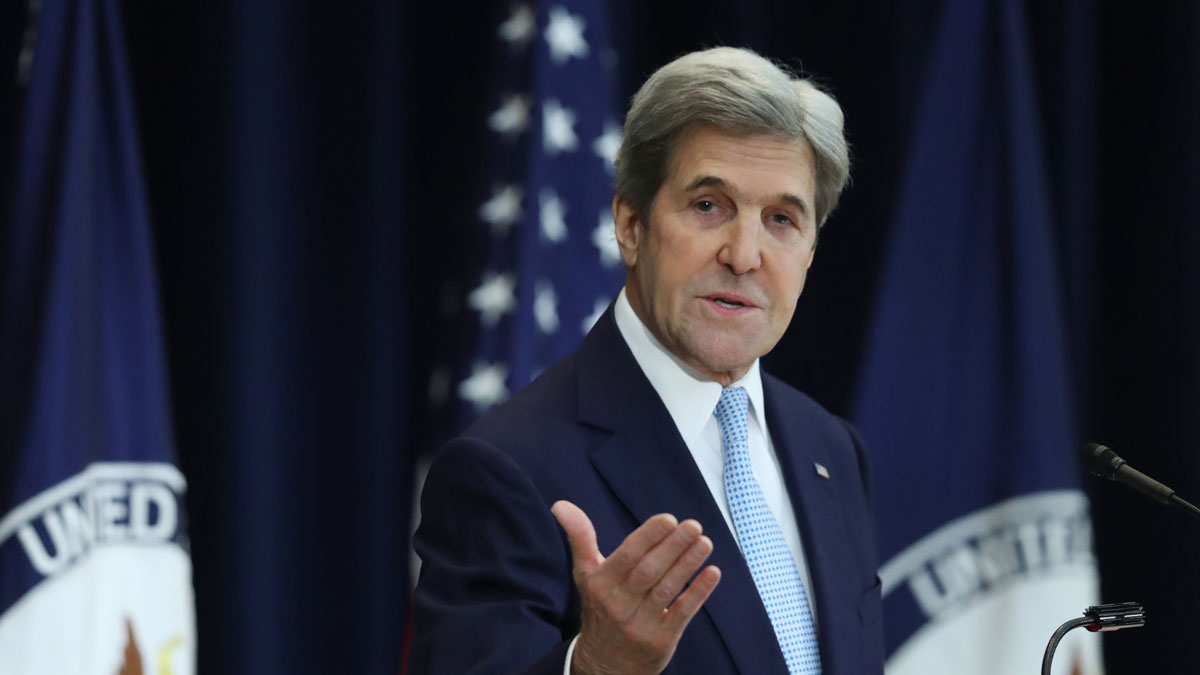 Secretary of State John Kerry speaks about Israeli-Palestinian policy, Wednesday, Dec. 28, 2016, at the State Department in Washington.