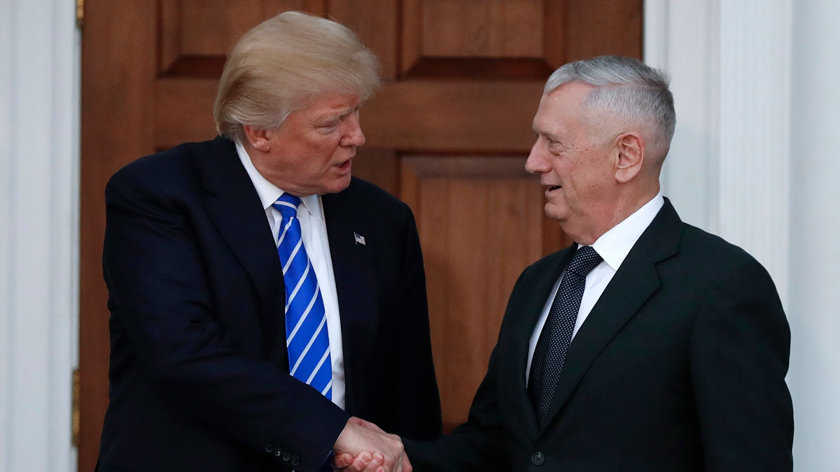 President-elect Donald Trump shakes hands with retired Marine Corps Gen. James Mattis as he leaves Trump National Golf Club Bedminster clubhouse in Bedminster, N.J., Saturday, Nov. 19, 2016.