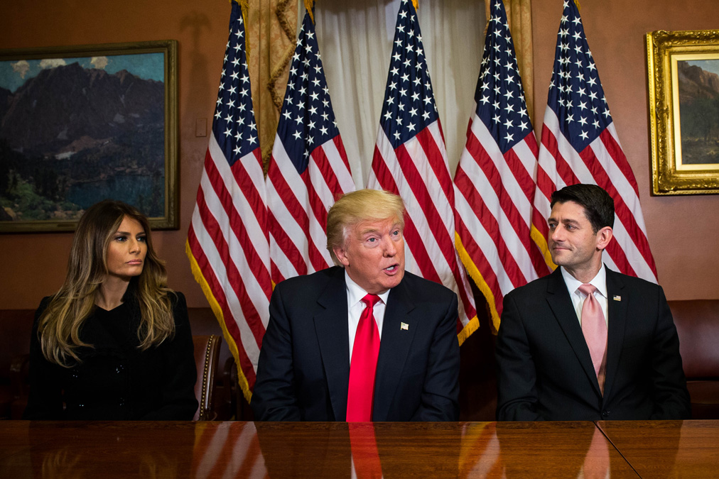 File photo: President-elect Donald Trump and  his wife Melania Trump (L)  meet with House Speaker Paul Ryan (R-WI) at The Capitol Building on Nov. 10, 2016, in Washington, D.C.