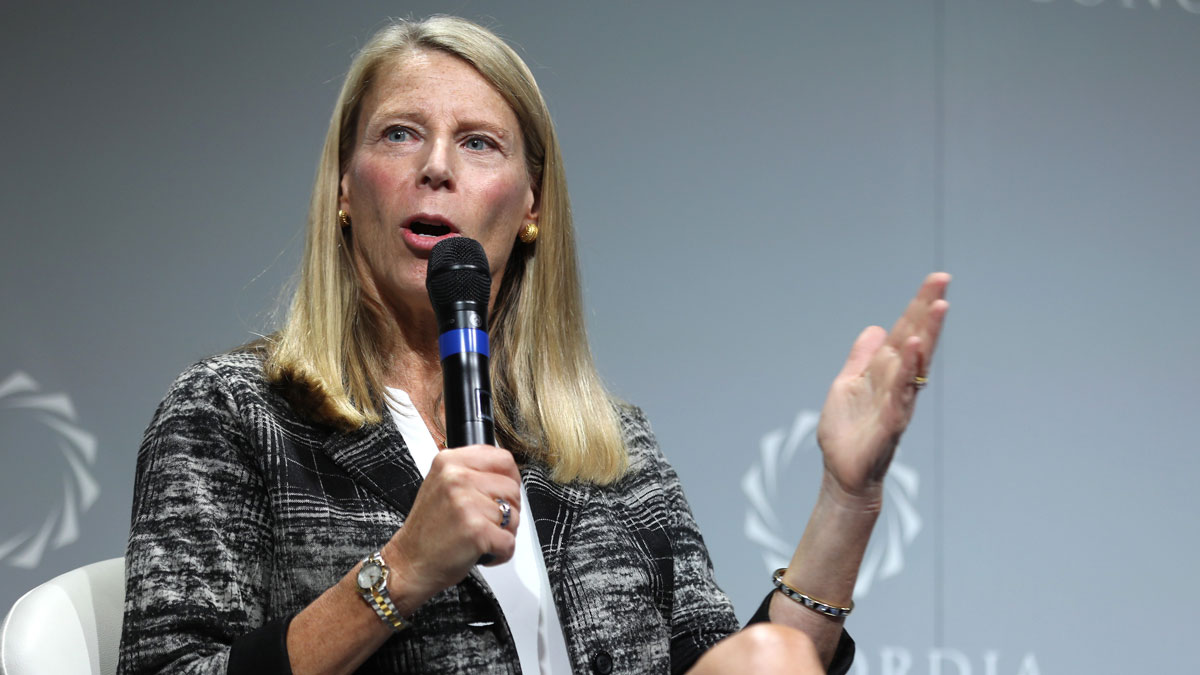 In this September 19, 2016, file photo, Save the Children President and CEO Carolyn Miles speaks at the 2016 Concordia Summit in New York City.