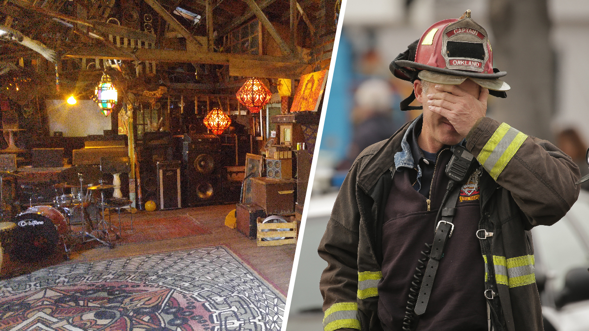 Oakland's so-called Ghost Ship warehouse, seen in June 2015, burned down in a fire Friday, Dec. 2, 2016, claiming 36 lives. Oakland fire captain Chris Foley (right) wipes his brow Monday, Dec. 5, as recovery efforts continued.