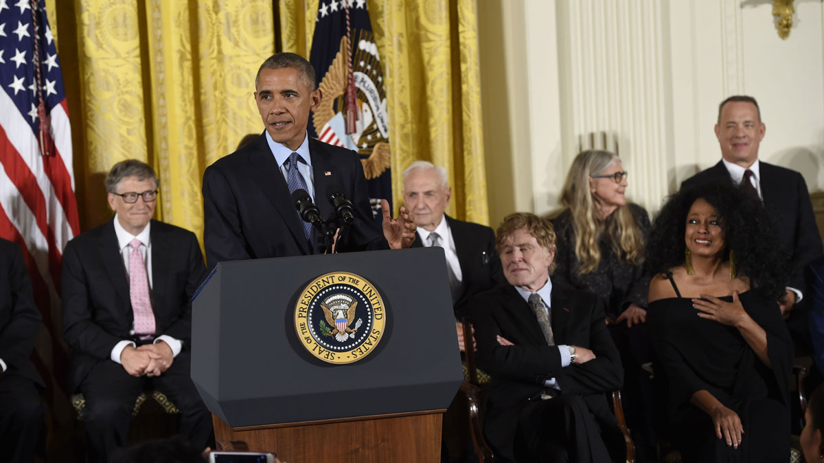 President Barack Obama speaks before presenting the Presidential Medal of Freedom, the nation's highest civilian honor, during a ceremony in the East Room of the White House in Washington, DC, November 22, 2016.