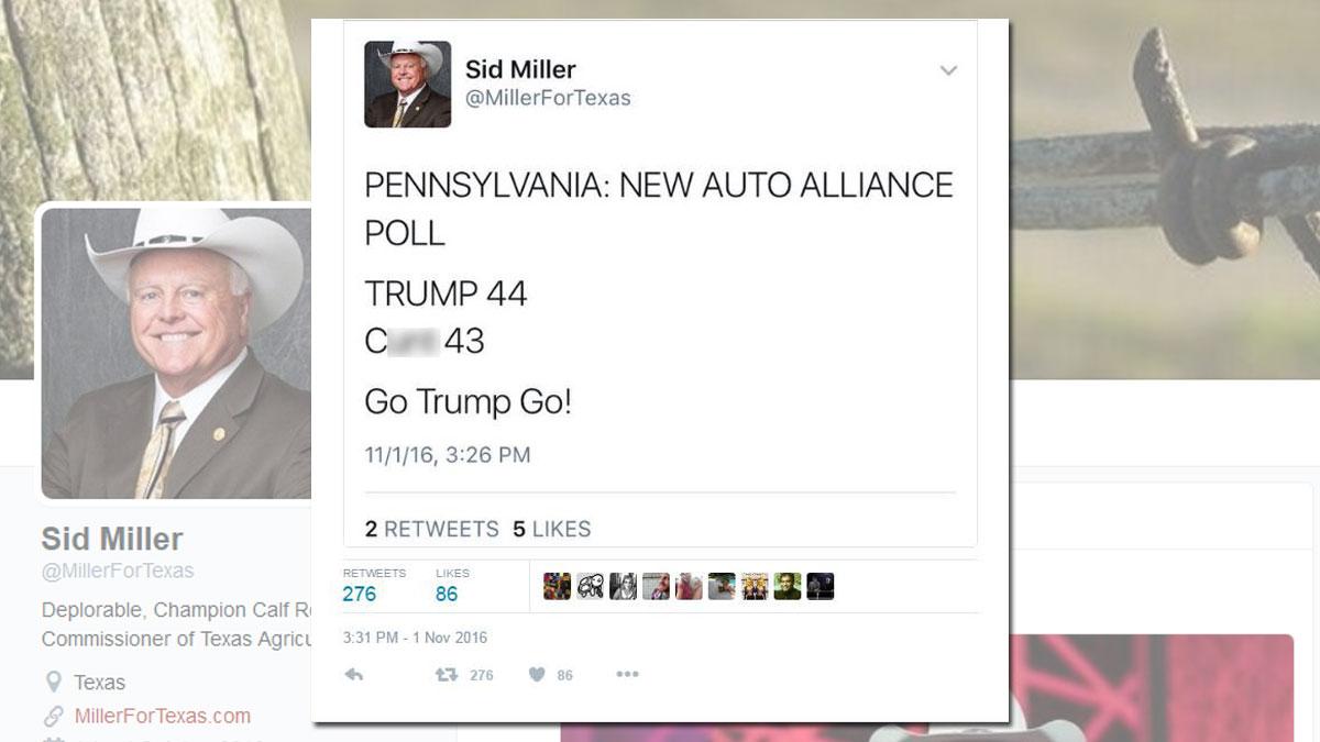 Sid Miller's deleted tweet, foreground, blurred.