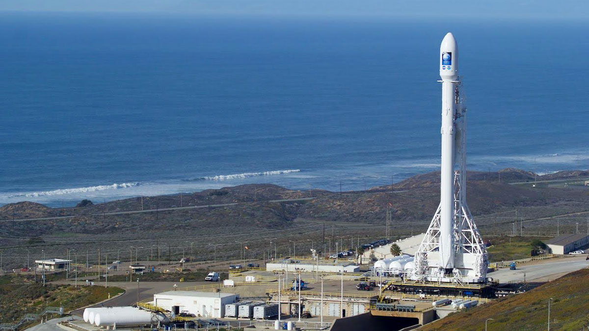 In this Jan. 16, 2016, photo, Space-X's Falcon 9 rocket with the Jason-3 satellite aboard, stands ready for flight at Vandenberg Air Force Base, California.