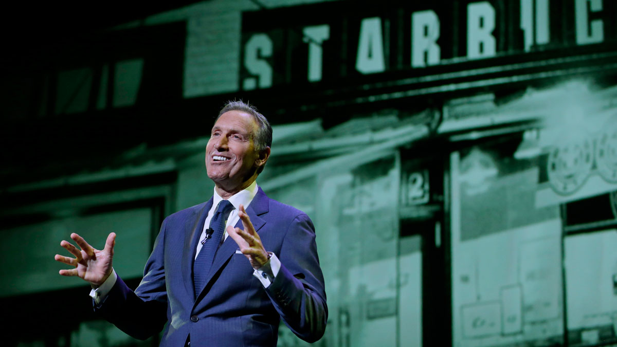 In this Wednesday, March 23, 2016, file photo, Starbucks CEO Howard Schultz speaks at the coffee company's annual shareholders meeting in Seattle.