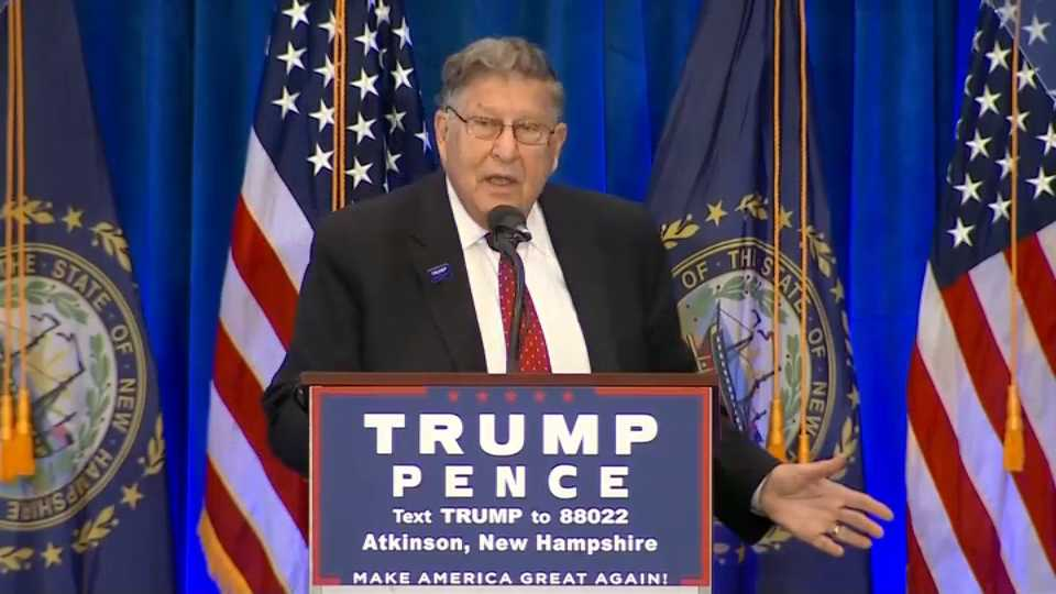 Former New Hampshire Gov. John H. Sununu warmed up the crowd before Donald Trump's rally in Atkinson, New Hampshire on Friday.
