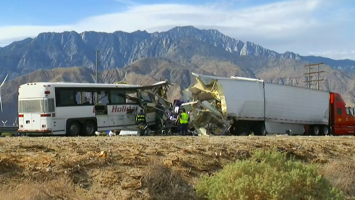 Thirteen people aboard a tour bus were killed and 31 injured after the bus crashed into a semi-truck on the westbound 10 Freeway in the Palm Springs area Sunday, Oct. 23, 2016.