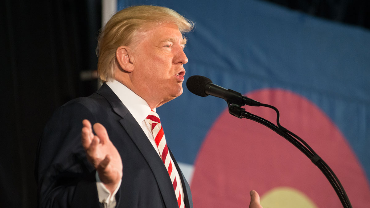 Republican presidential candidate Donald Trump speaks at a rally on October 18, 2016, in Colorado Springs. He has alleged that the election is rigged against him.