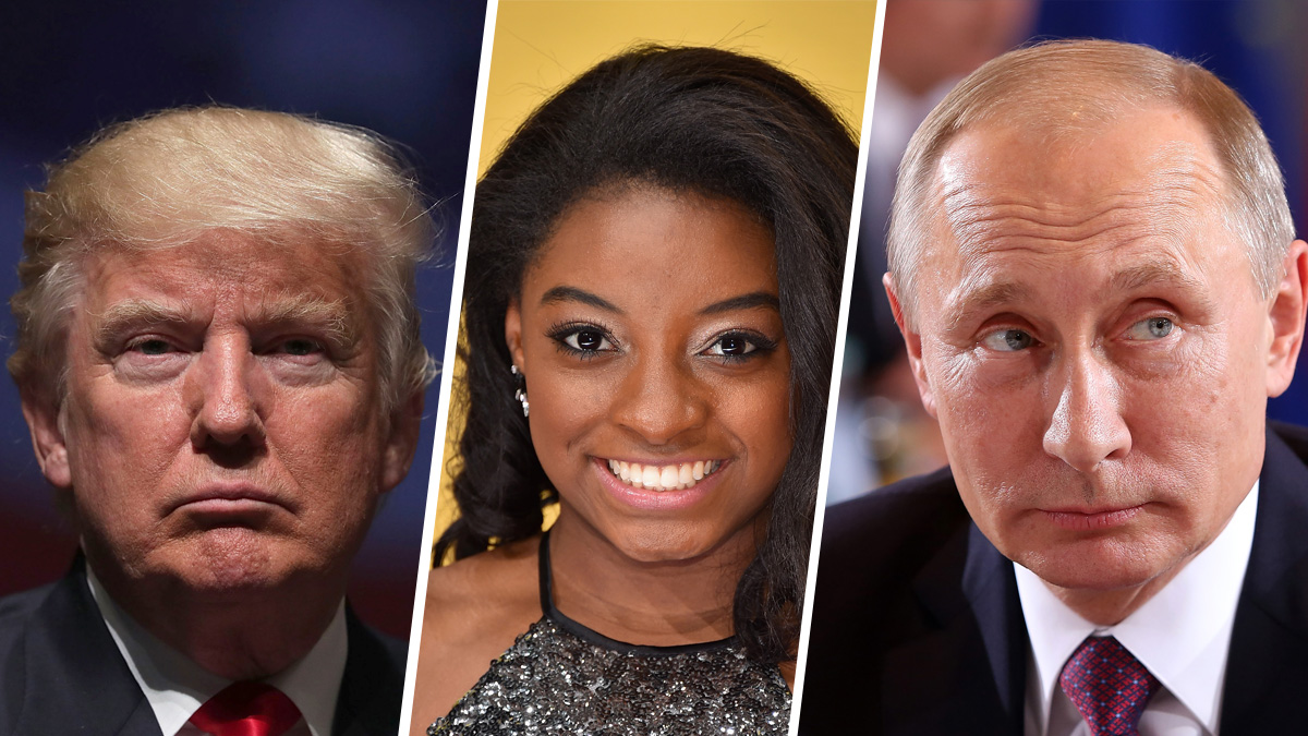 From left, President-elect Donald Trump, gymnast Simone Biles, and Russian President Vladimir Putin have all made the shortlist for Time Magazine's Person of The Year.