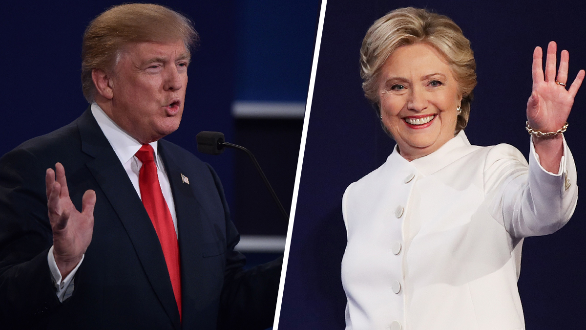 Donald Trump and Hillary Clinton at the start of their third presidential debate on Wednesday, Oct. 19, 2016.