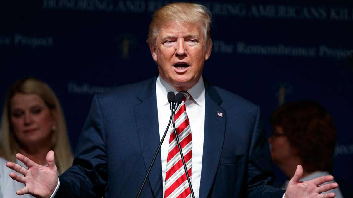 File Photo: Republican presidential candidate Donald Trump speaks during a event with The Remembrance Project, Saturday, Sept. 17, 2016, in Houston.