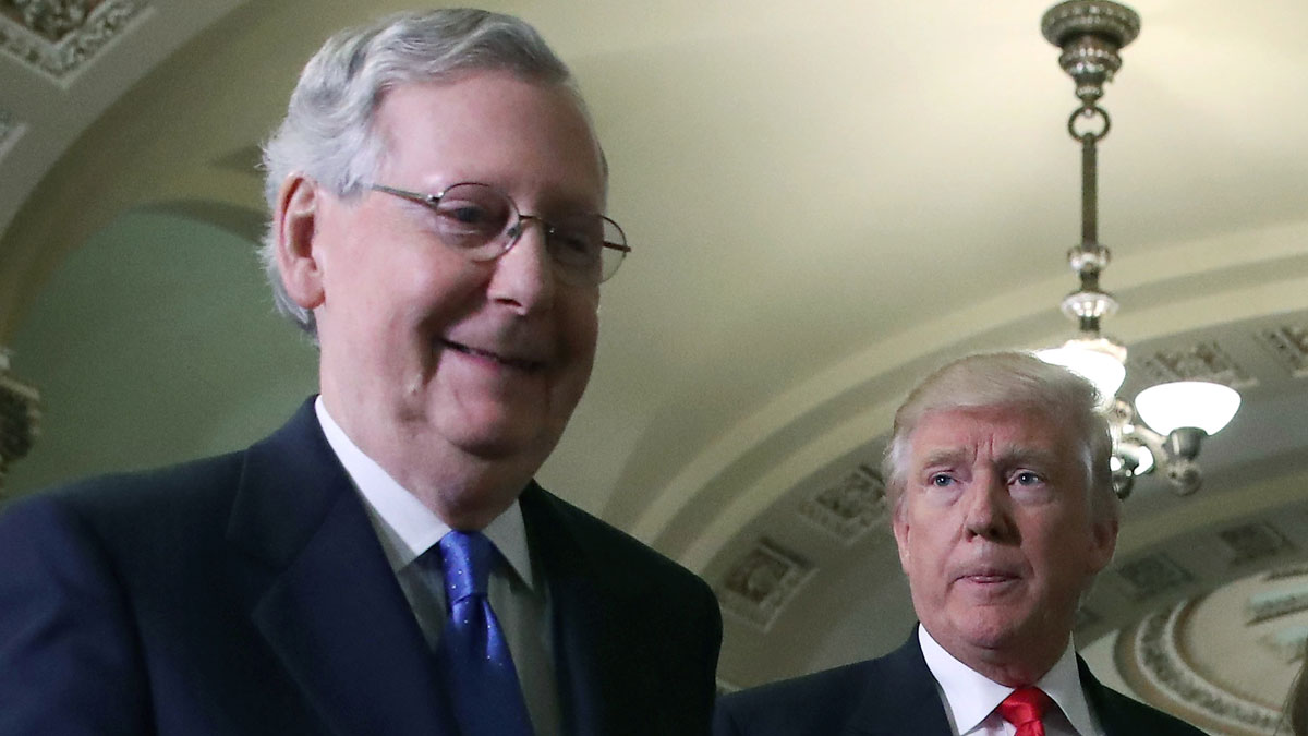 Senate Majority Leader Mitch McConnell, walks with President-elect Donald Trump at the U.S. Capitol on Nov. 10, 2016, in Washington, DC.