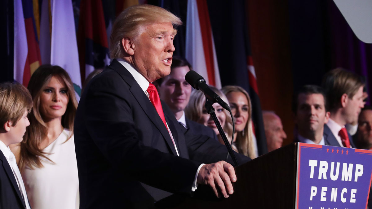 Republican president-elect Donald Trump delivers his acceptance speech during his election night event at the New York Hilton Midtown in the early morning hours of Nov., 9, 2016, in New York City.