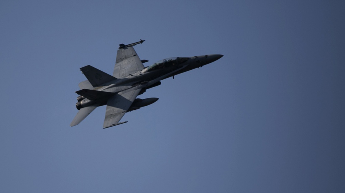 A U.S. Marine F/A-18 Hornet is seen during a military training exercise on March 28, 2015, in South Korea.