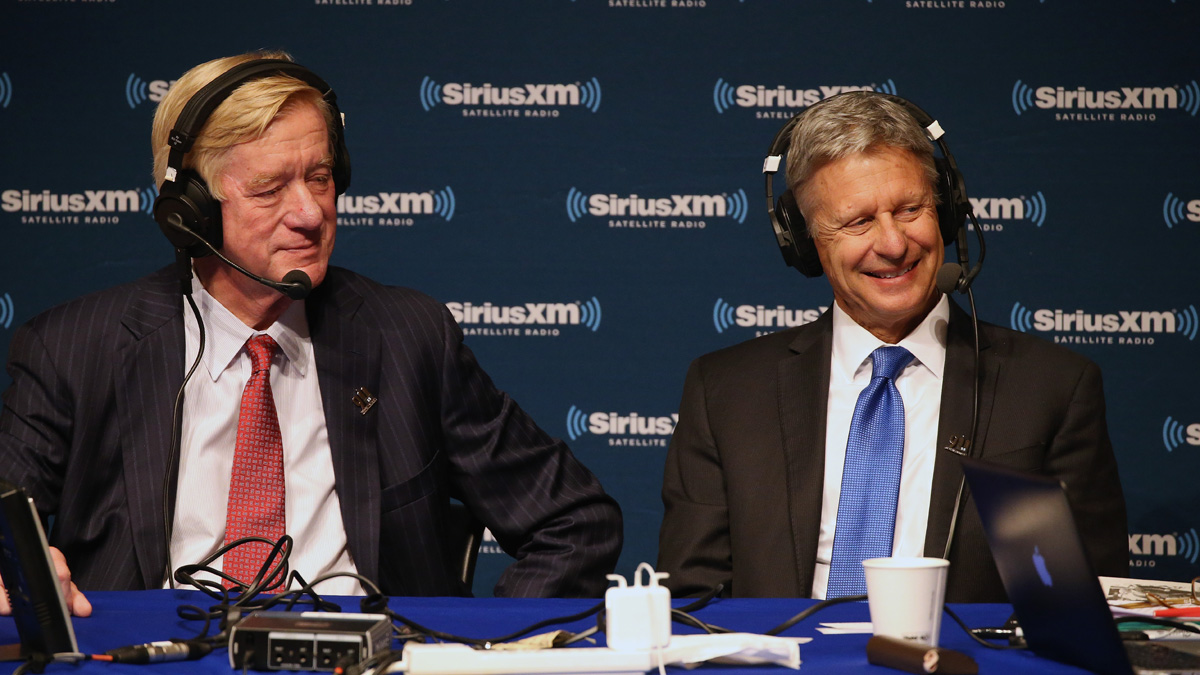 In this file photo, vice presidential candidate Bill Weld and presidential candidate Gary Johnson attend the SiriusXM Libertarian Presidential Forum at the National Constitution Center September 12, 2016 in Philadelphia, Pennsylvania.